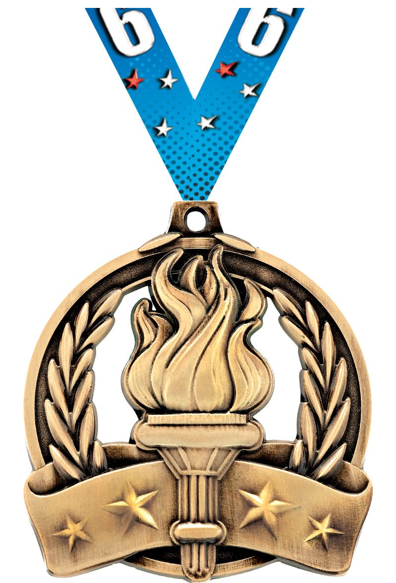 """2"""" TORCH MEDAL GOLD"""