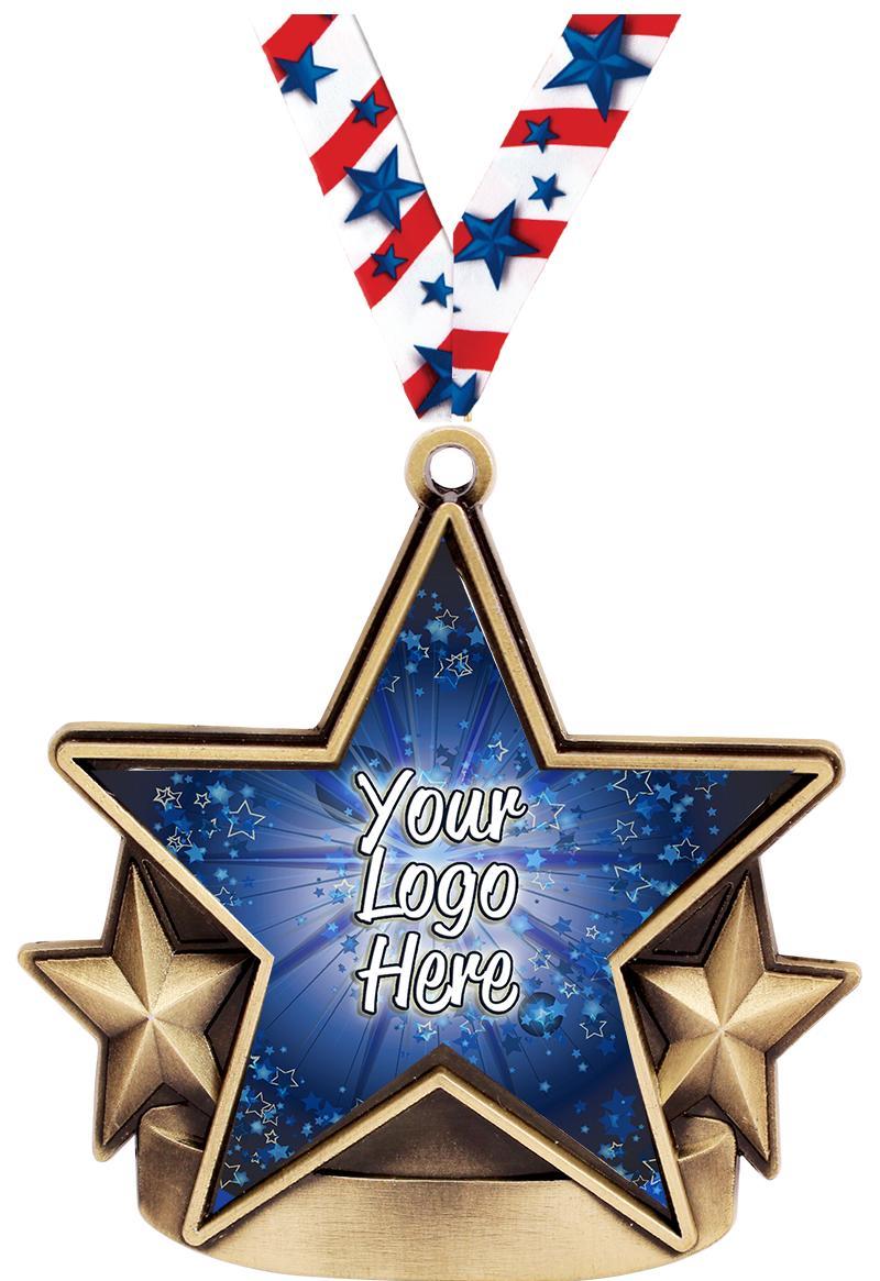 """2 1/2"""" Star Nova Insert Medals"""
