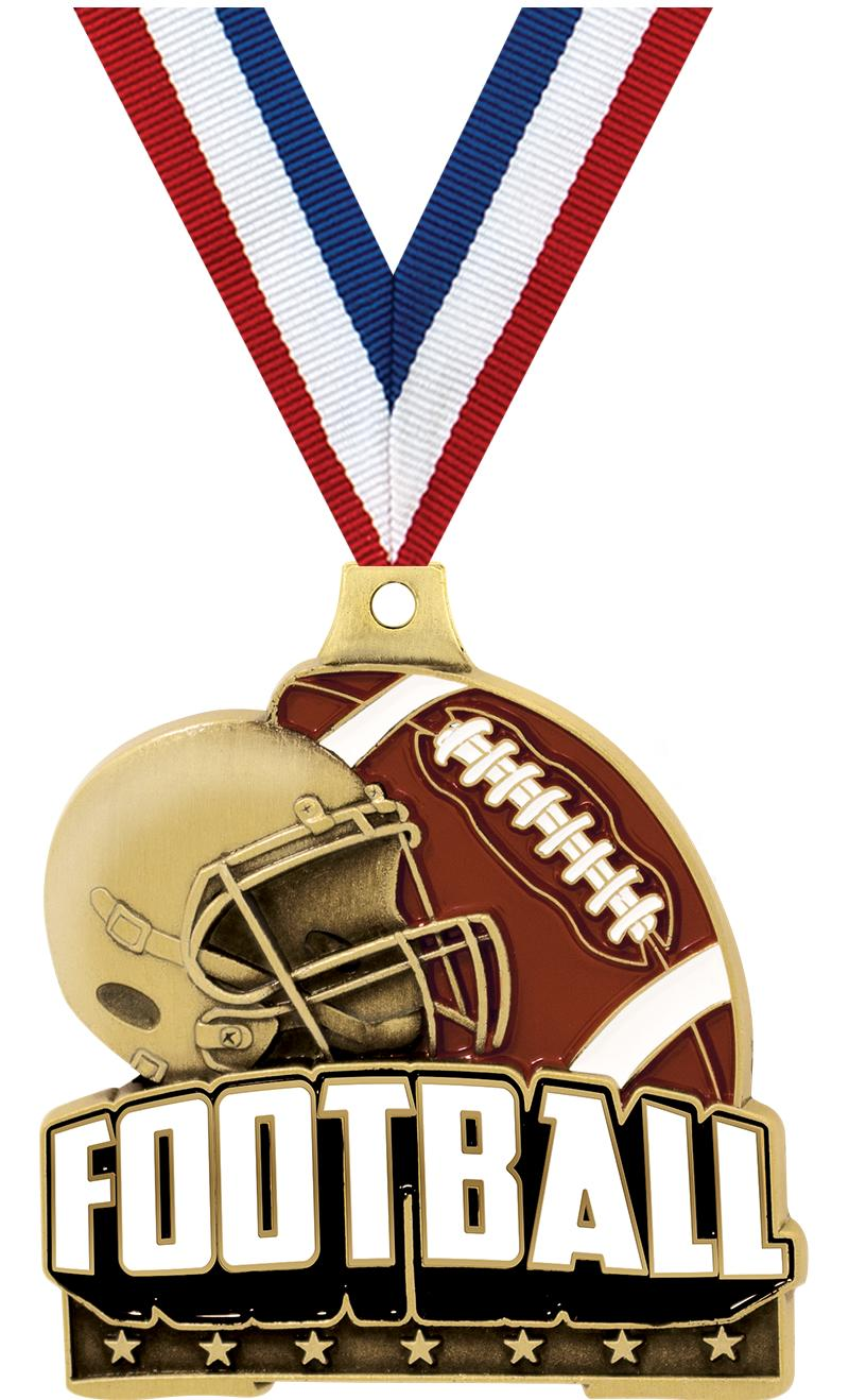 "2"" FOOTBALL TURF MEDAL GOLD"