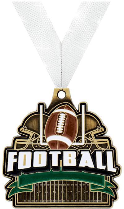 "2"" TURF FOOTBALL MEDAL GOLD"