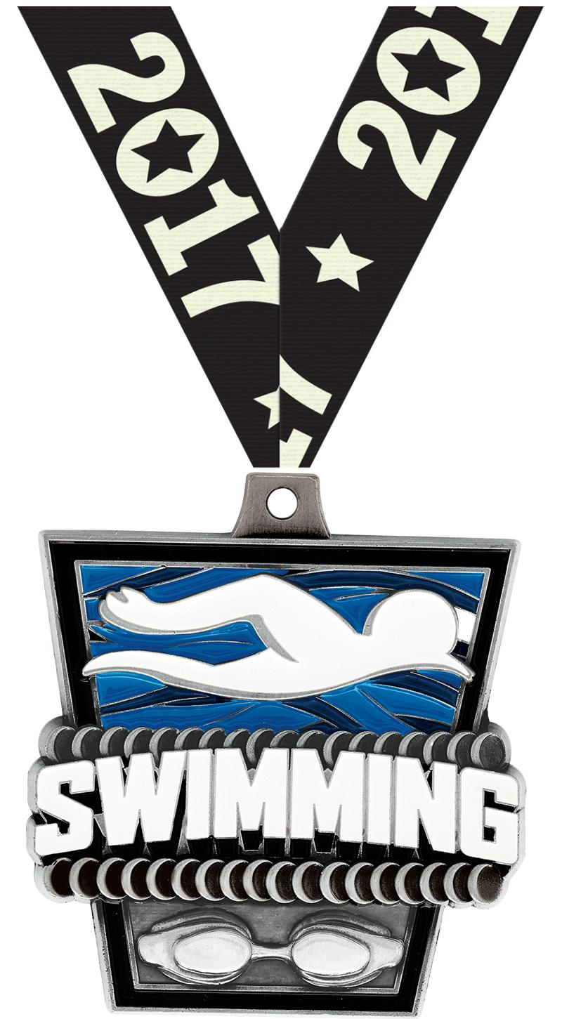 "2"" Swimming Turf Medal 2.0"