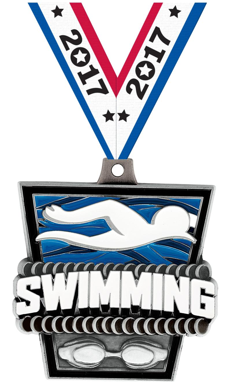 "2"" Swimming Turf Medal 2.0"
