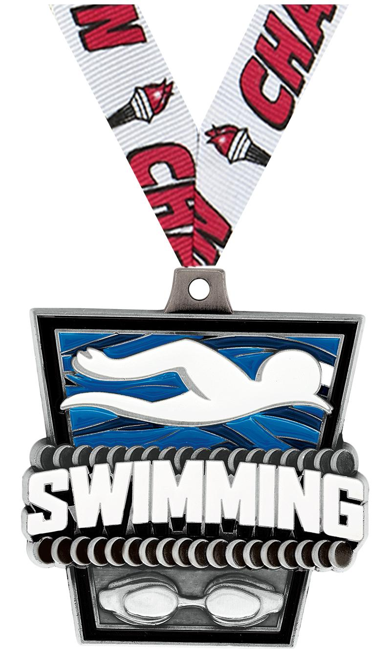 """2"""" TURF SWIMMING MEDAL SILVER"""