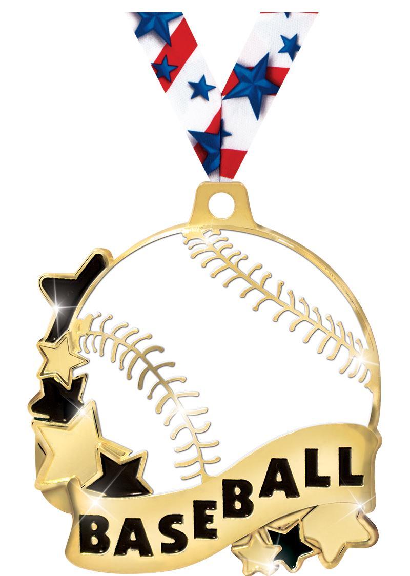 """2""""BASEBALL BANNER MEDAL GOLD"""
