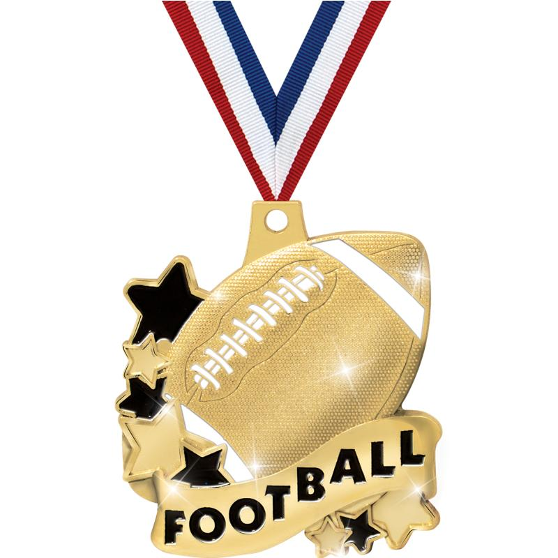 """2"""" FOOTBALL BANNER MEDAL GOLD"""