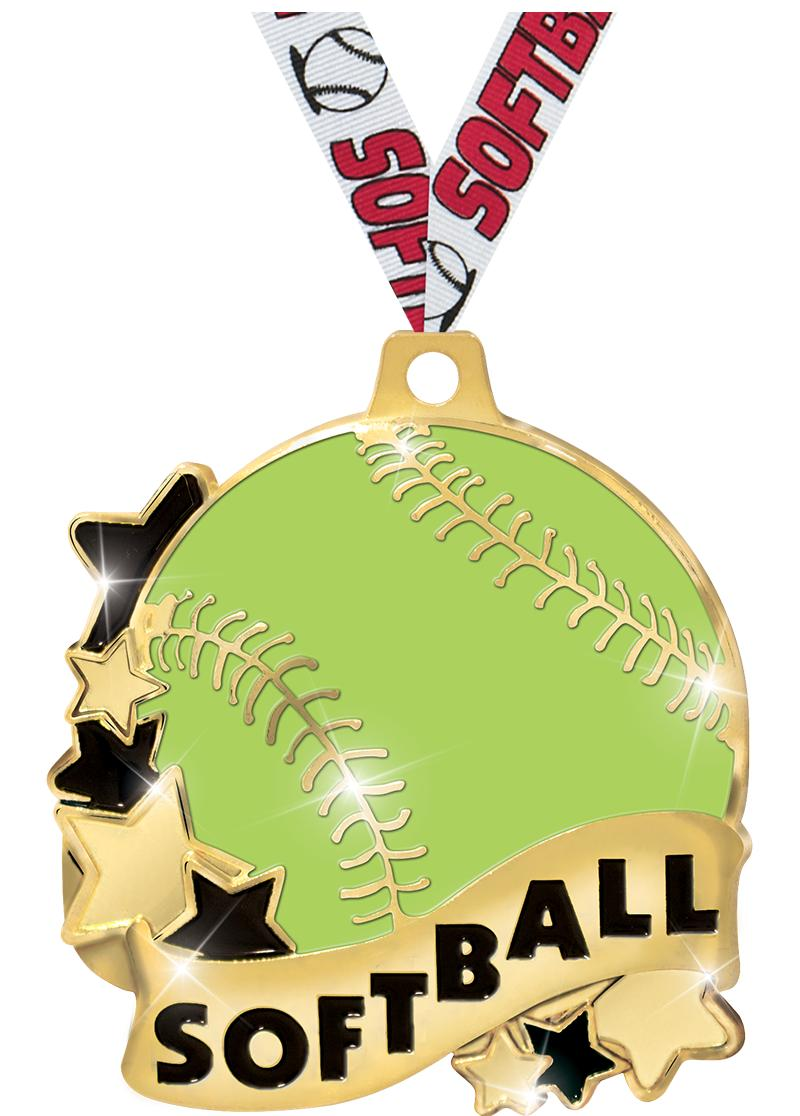 "2""SOFTBALL BANNER MEDAL GOLD"