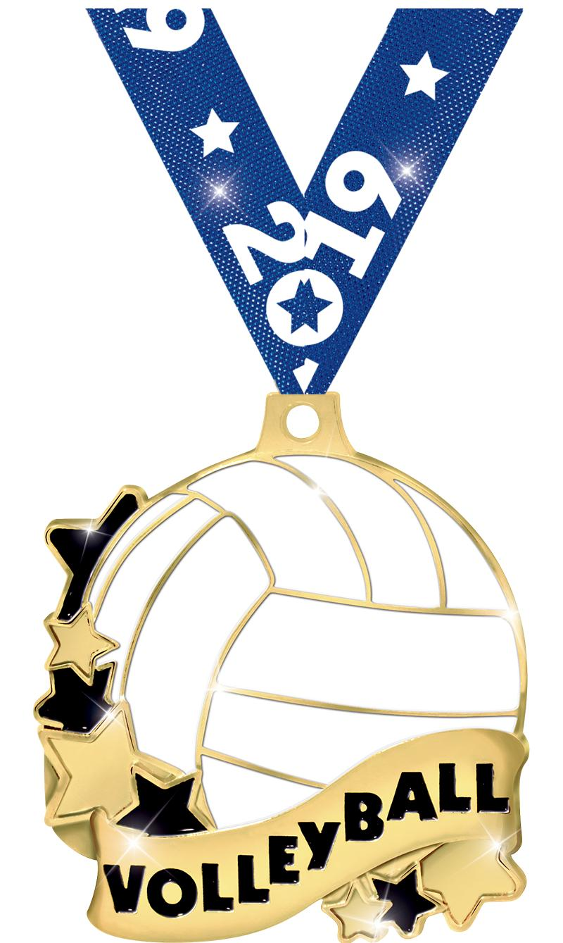 """2"""" VOLLEYBALL BANNER MEDAL GLD"""