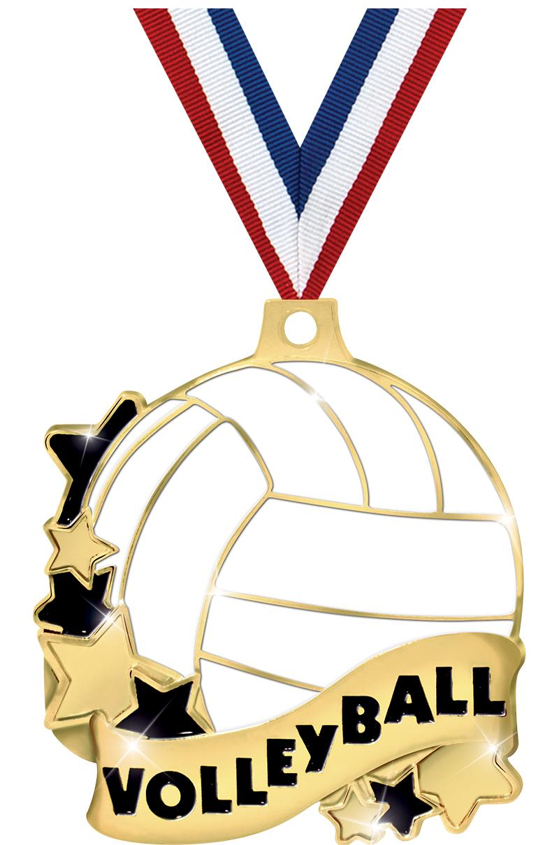 "2"" VOLLEYBALL BANNER MEDAL GLD"