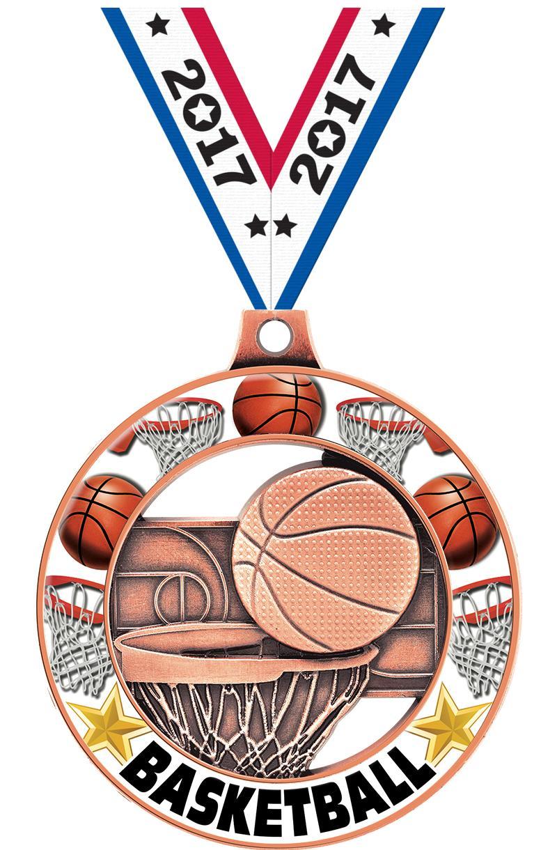 "2"" Basketball Glow Rimz 4.0 Medal"
