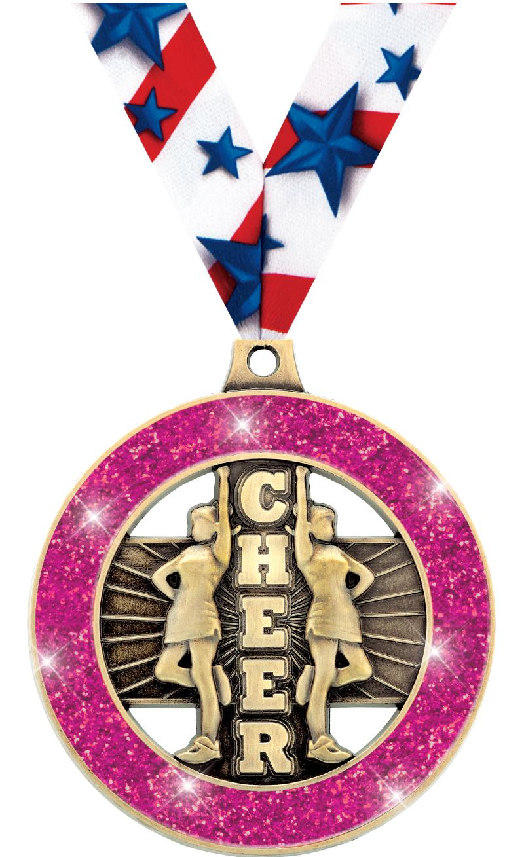 "2"" Cheer Glitter Rimz Medals"