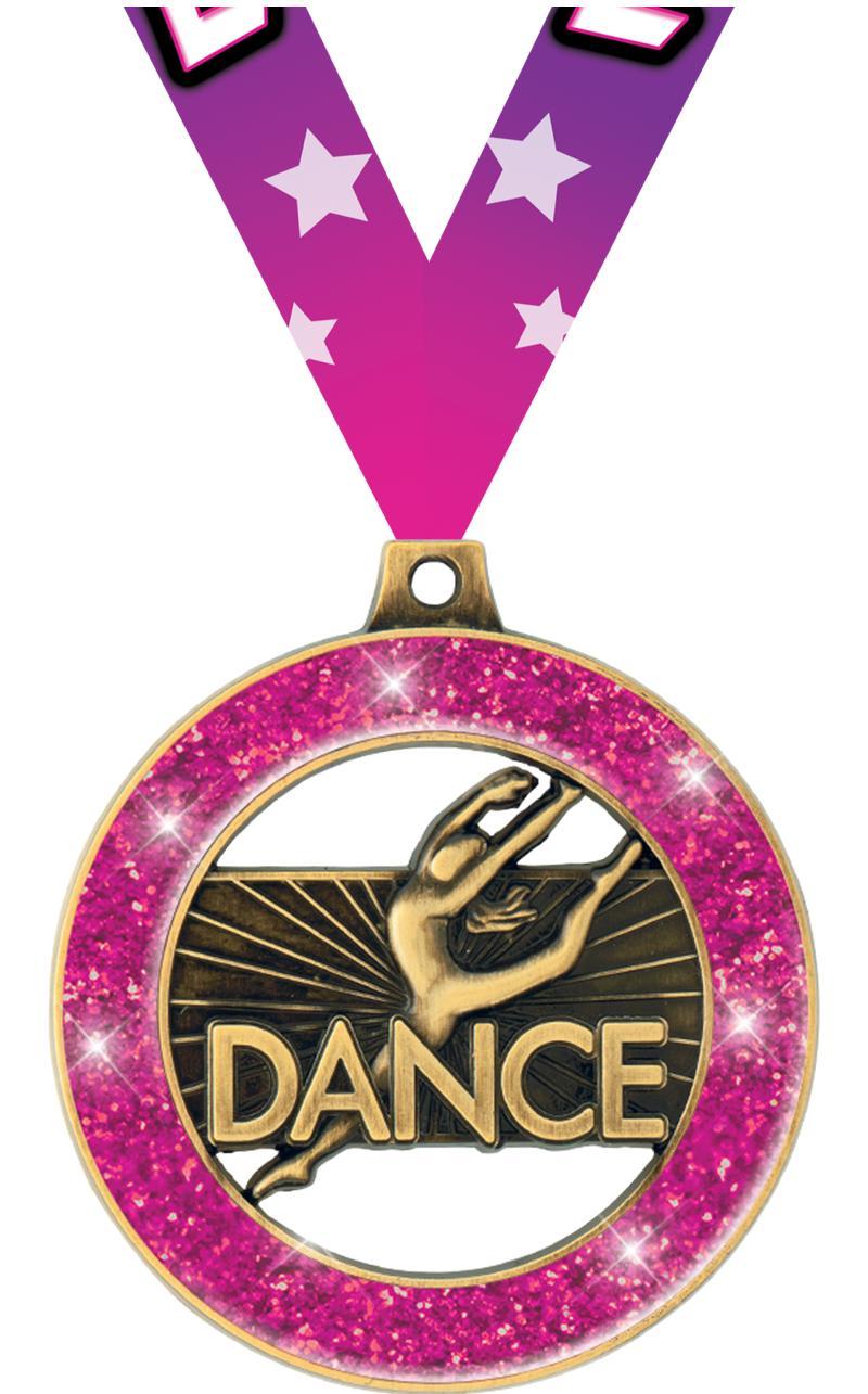 """2"""" Dance Glitter Rimz Medal"""