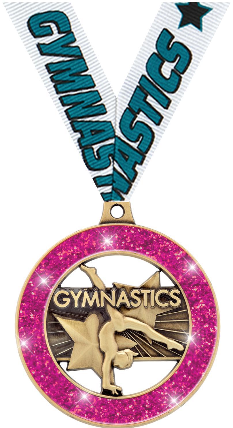 """2"""" Gymnastics Glitter Rimz Medals"""