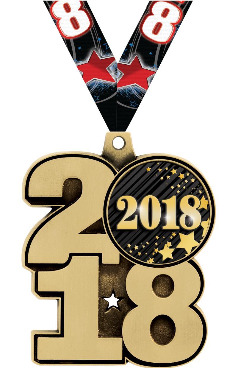 """2.25"""" 2018 INSERT MEDAL GOLD"""