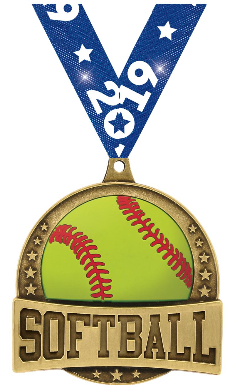 "2.25"" FX SOFTBALL MEDAL GOLD"