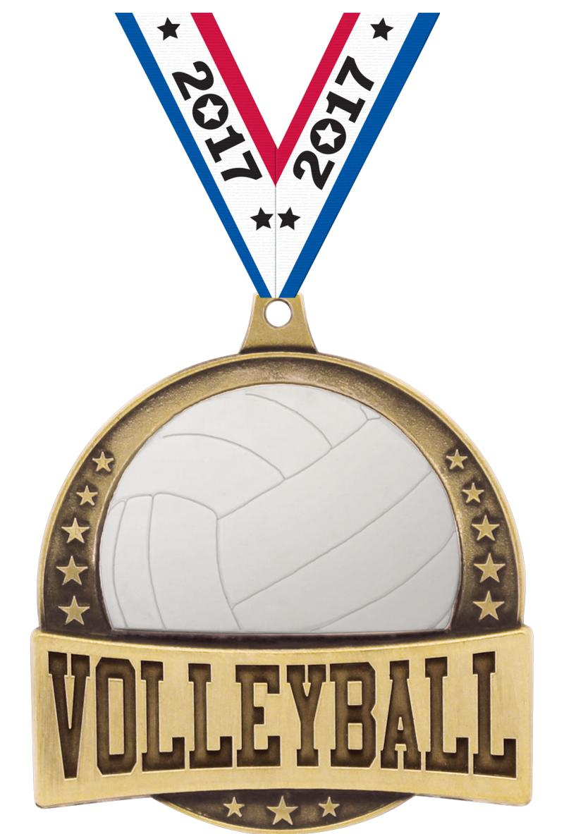 "2.25"" FX VOLLEYBALL MEDAL GOLD"