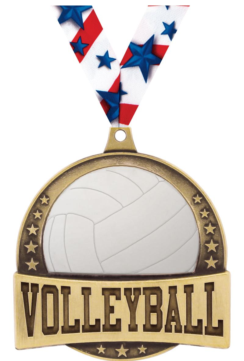 """2.25"""" FX VOLLEYBALL MEDAL GOLD"""