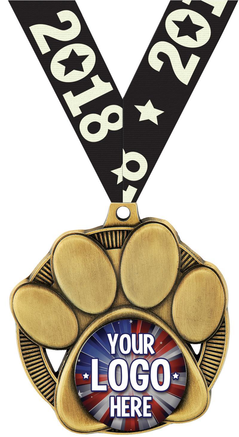 Custom Insert Paw Print Medal