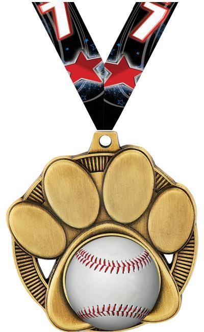 "2"" Paw Print Mascot Insert Medal"