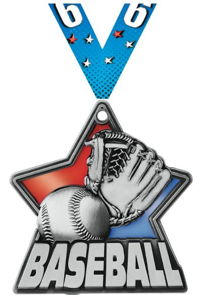 """2 1/4"""" Baseball Stained Glass Medals"""