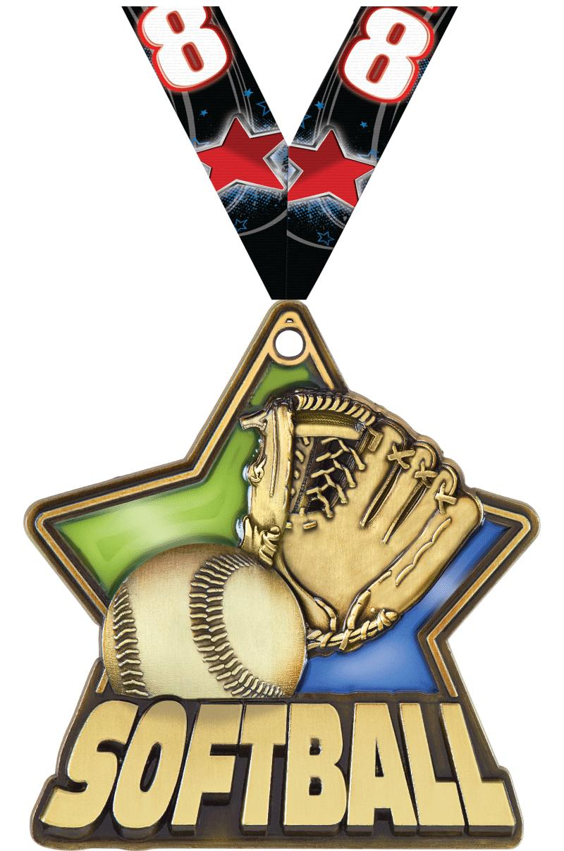 "2 1/4"" Softball Stained Glass Medals"