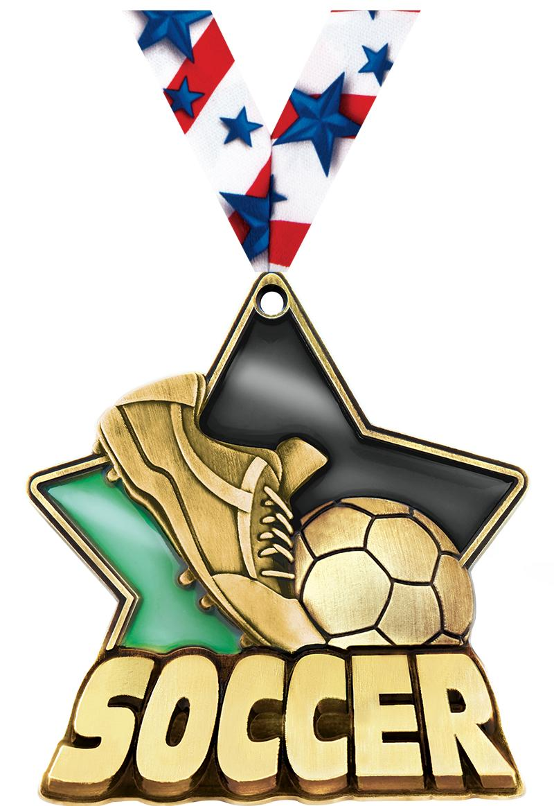 """2 1/4"""" Soccer Dark Stained Glass Medals"""