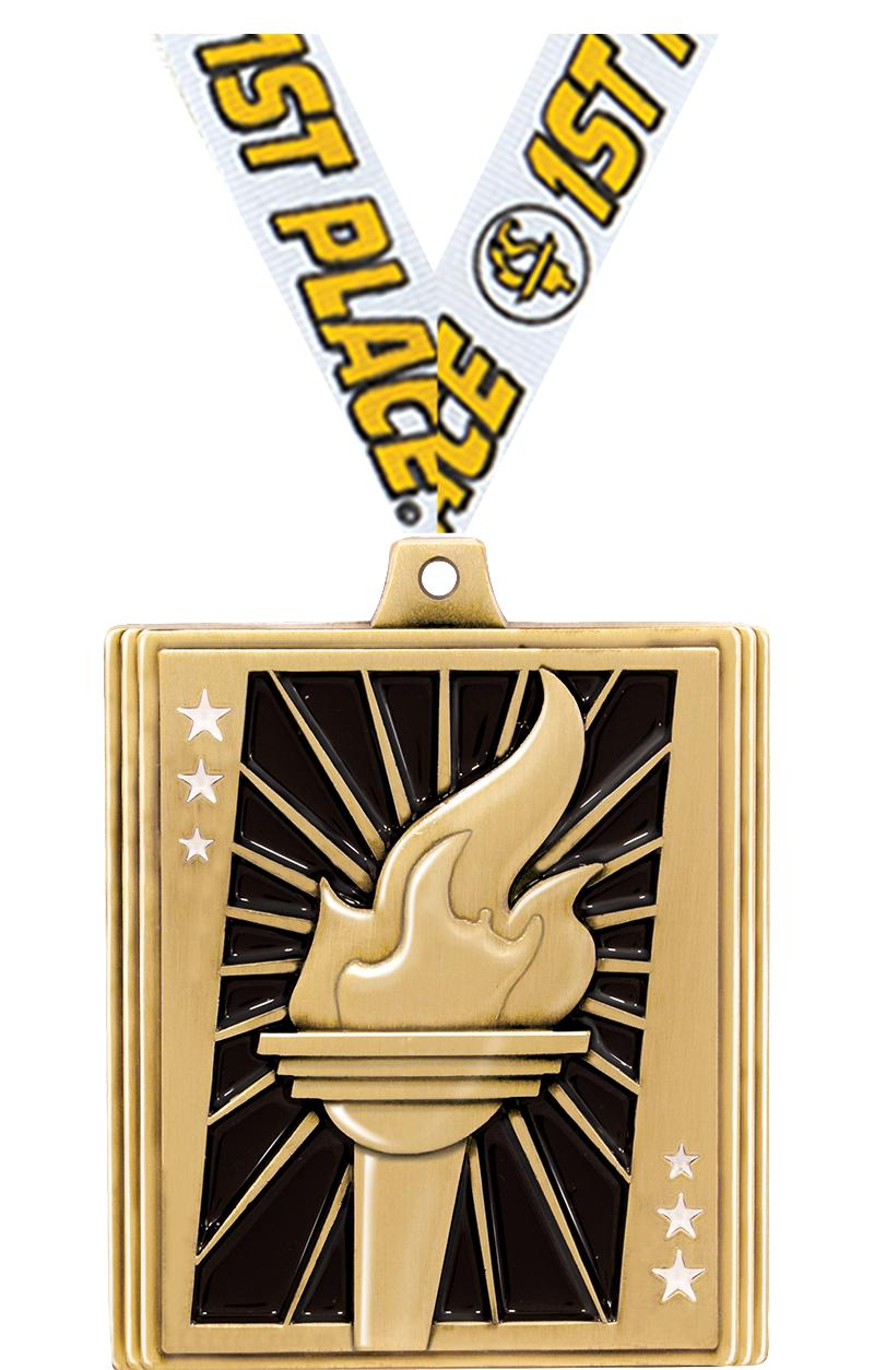 "2 1/4"" STEPZ TORCH MEDAL GOLD"