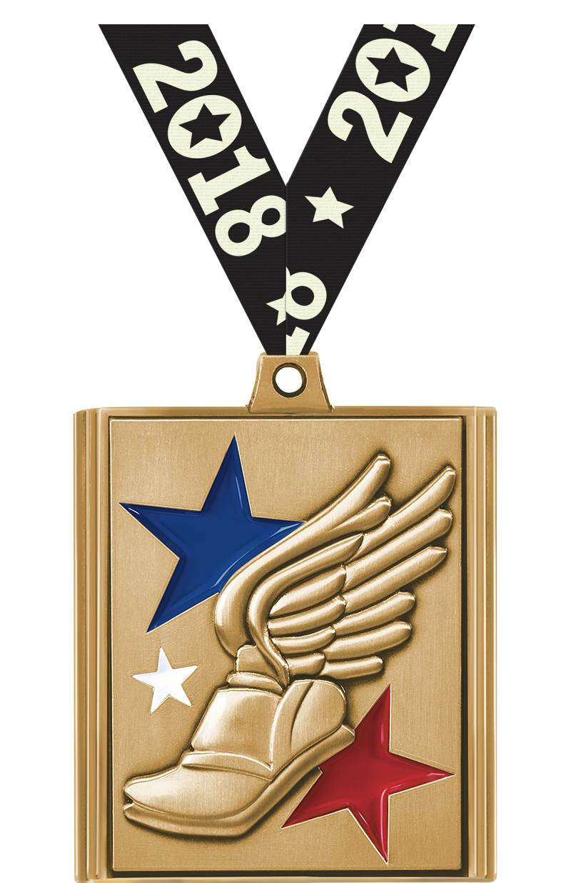 "2 1/4"" Winged Foot Stepz Medals"