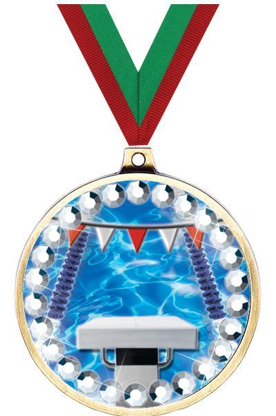 """2 1/4"""" Swimming Blingster Medal"""