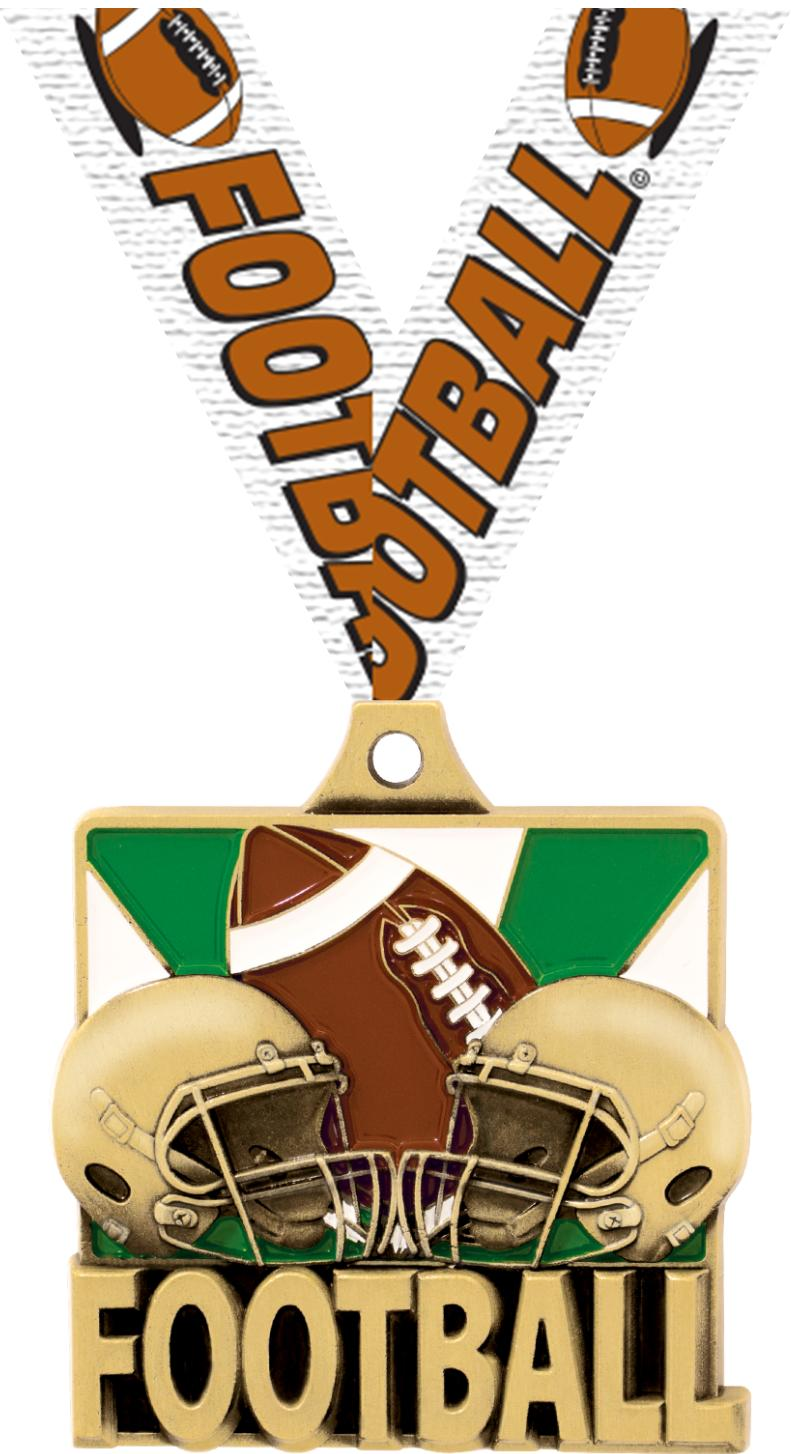 "2"" FOOTBALL QUAD MEDAL GOLD"