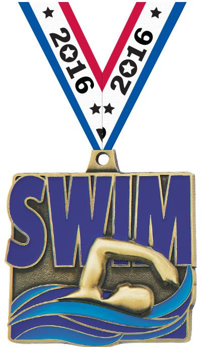 "2"" QUAD SWIM MEDAL GOLD"