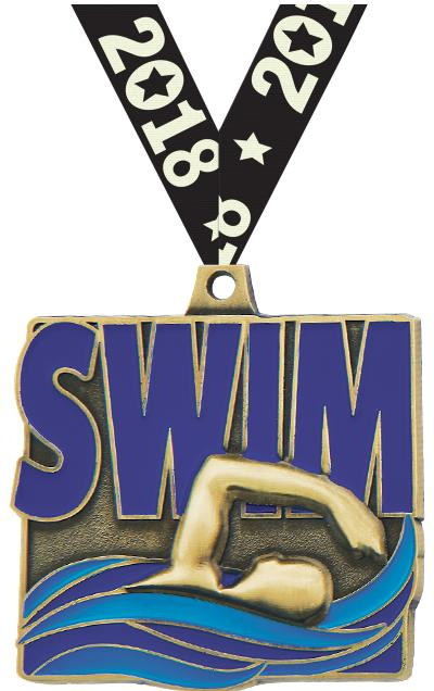 "2"" Swim Quad Square Medal"