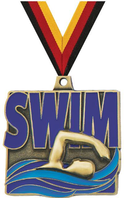 """2"""" Swim Quad Square Medal"""