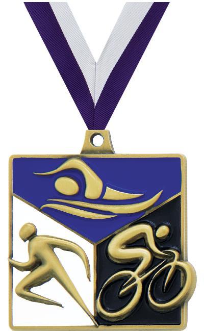 """2"""" Triathlon Quad Square Medal"""
