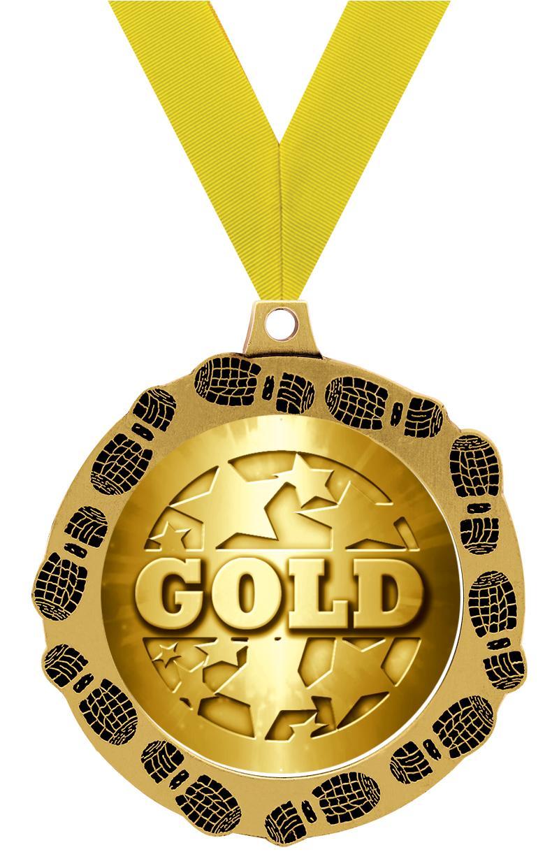 "2.75"" FOOTPRINTZ MEDAL GOLD"