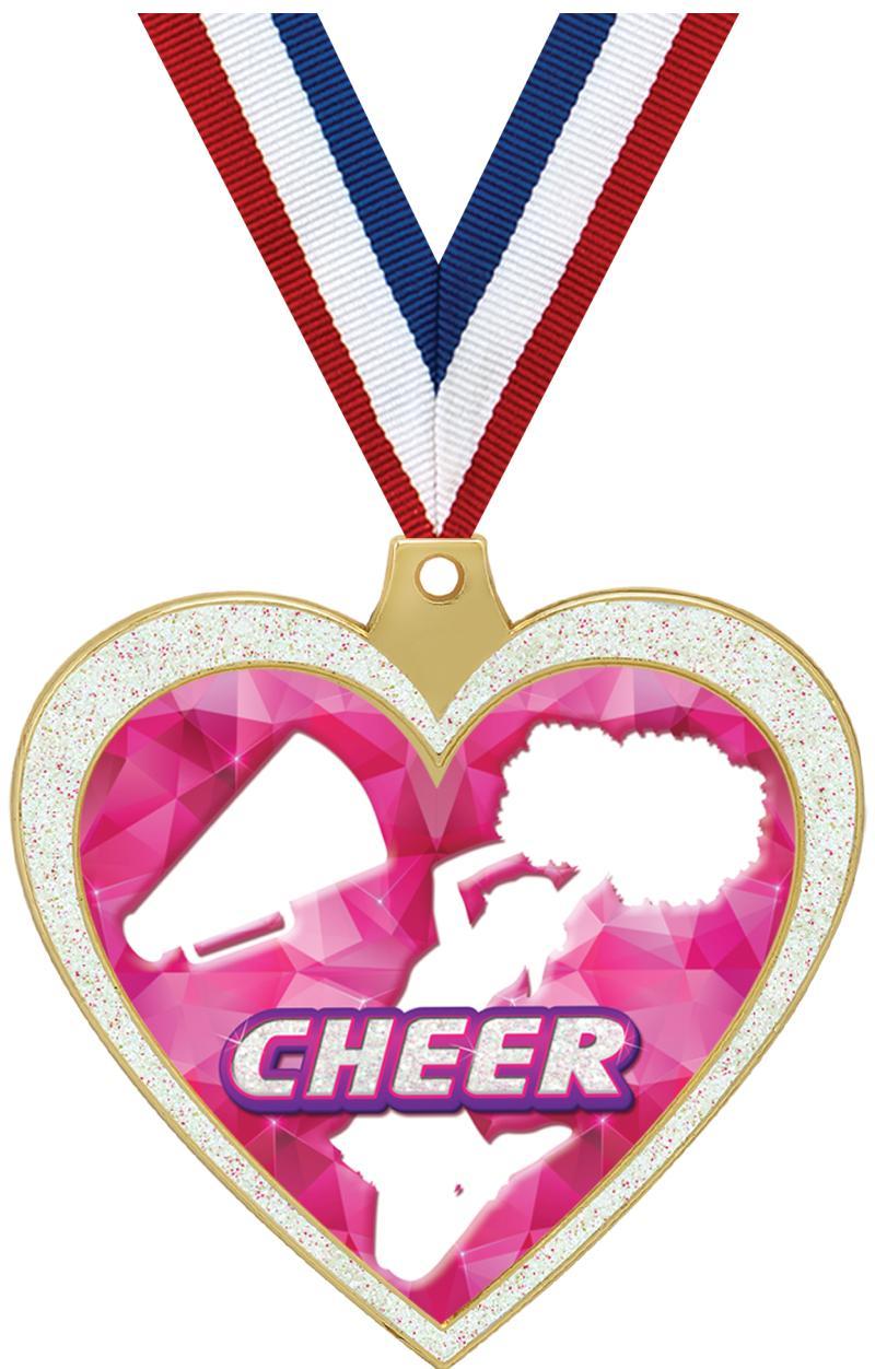"""2 1/2"""" Cheer Glitter Heart Medal"""