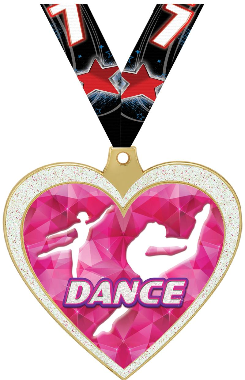 """2 1/2"""" Dance Glitter Heart Medal"""
