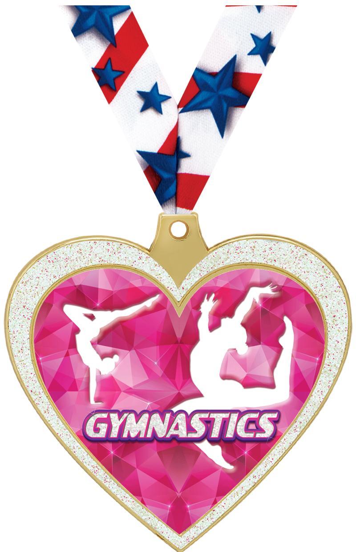 "2 1/2"" Gymnastics Glitter Heart Medal"