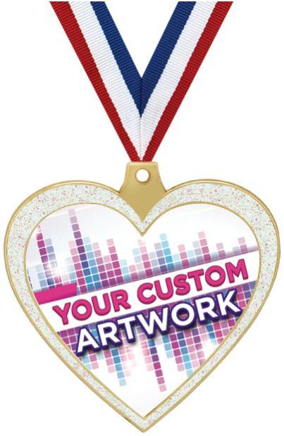 """2 1/2"""" Heart Glitter Insert Medal"""