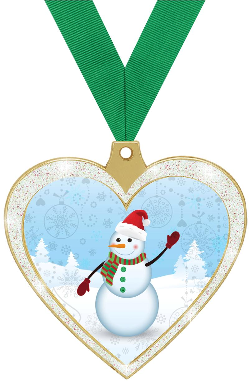 """2 1/2"""" White Glitter Heart Medal"""