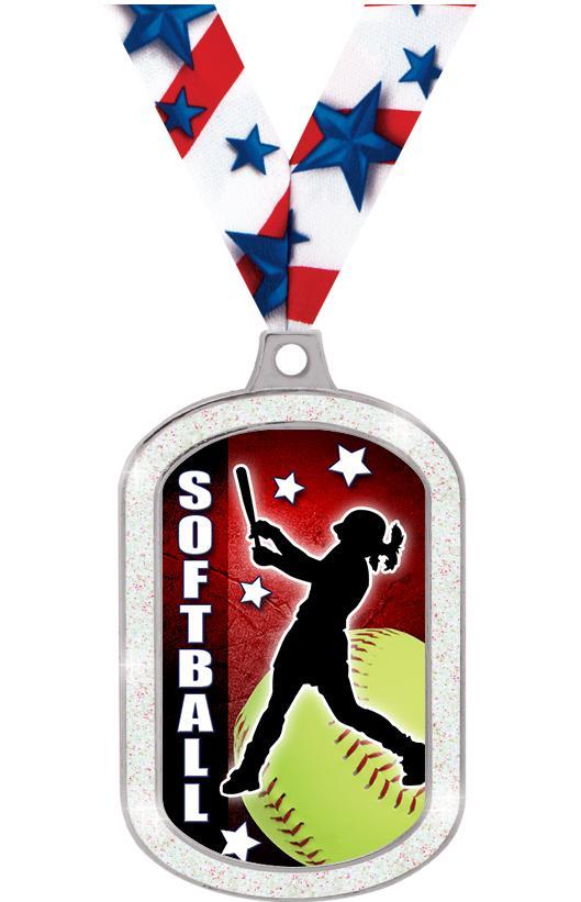Softball Glitter Dog Tag