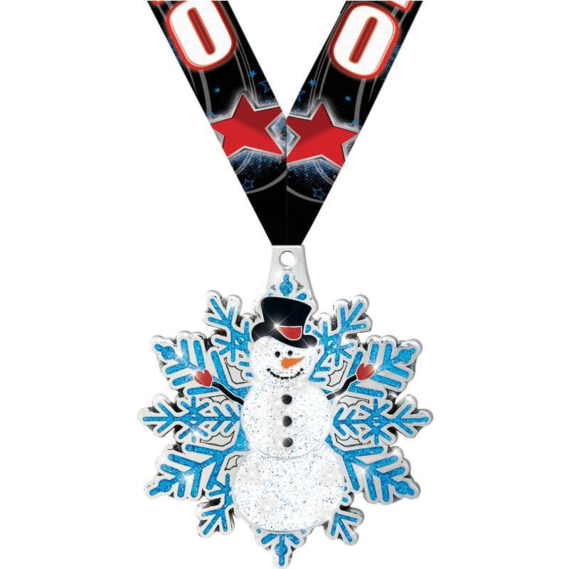 "2.5"" SNOWMAN MEDAL SILVER"