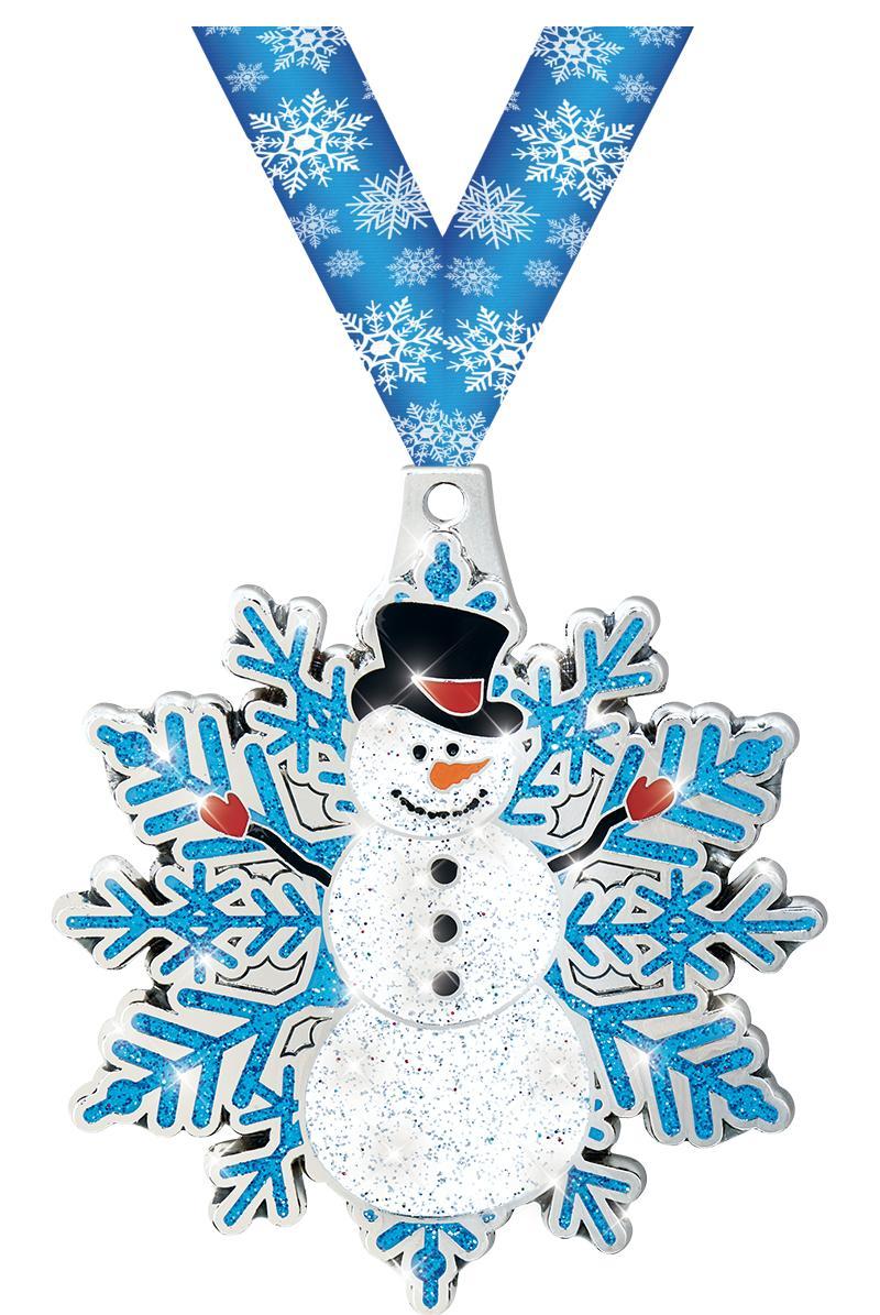 "2 1/2"" Snowman Glitter Medal"
