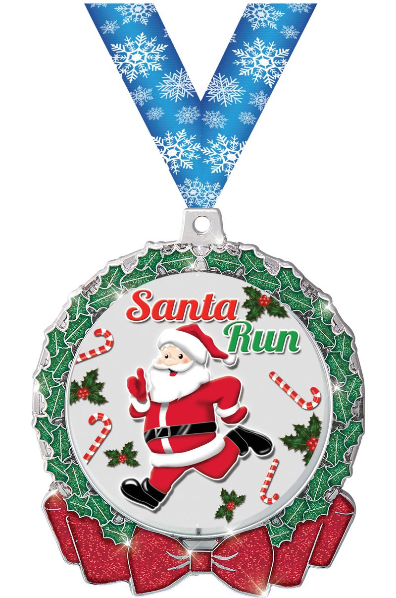 "2 3/4"" Glitter Wreath Medal"