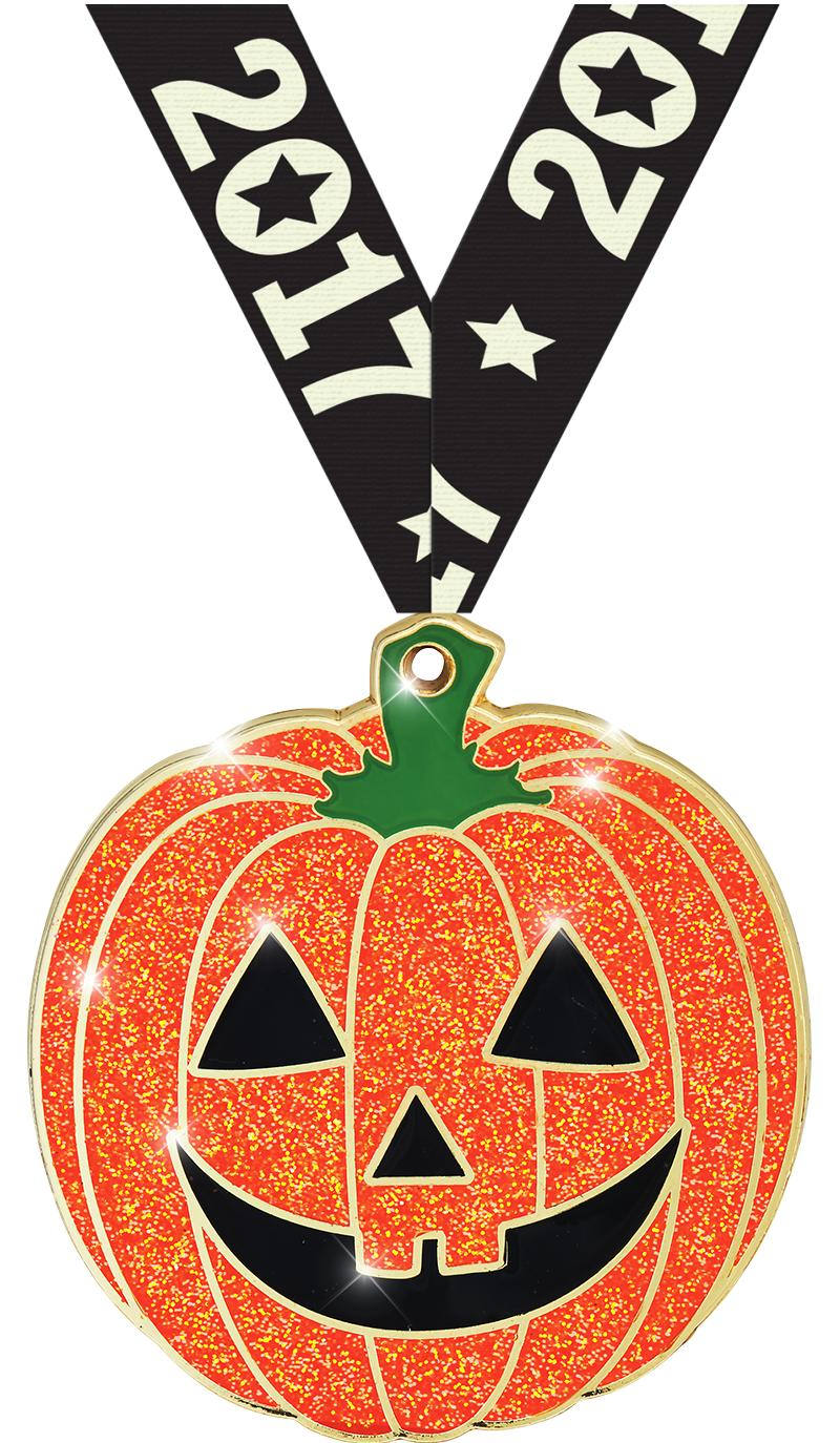 """2 1/4"""" Pumpkin Glitter Medal"""