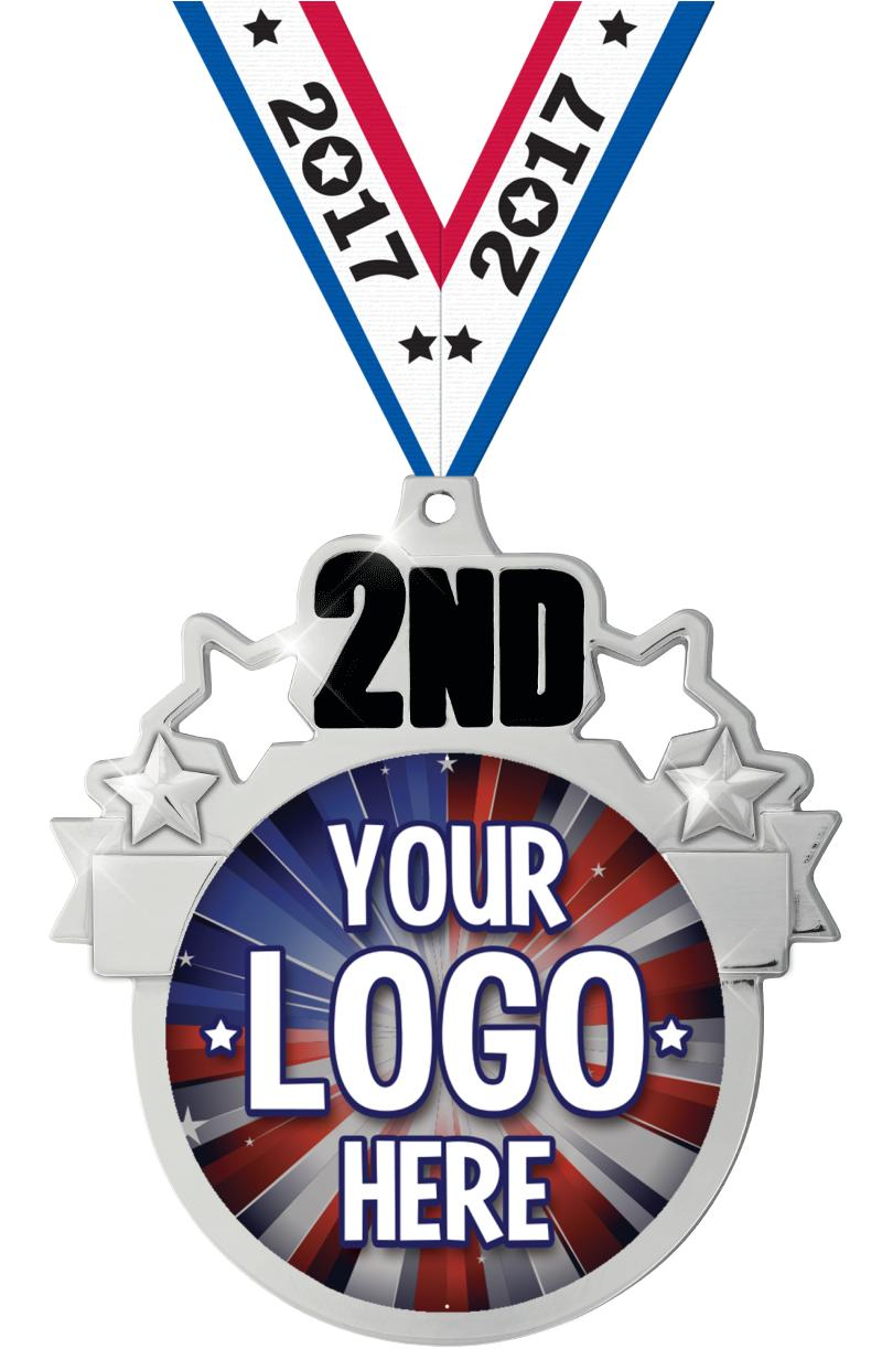 """3"""" 2nd Place Colorburst Medals"""