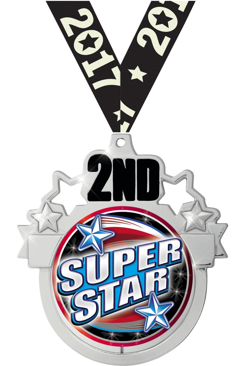 """3"""" 2nd Place Colorburst Medal"""
