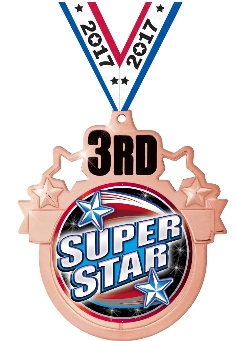 """3"""" 3rd Place Colorburst Medal"""