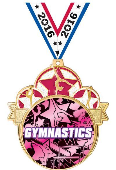 "3"" Female Gym Colorburst Medals"
