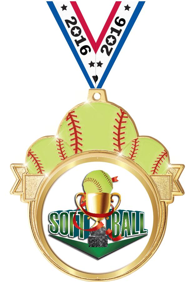 "3"" Softball Colorburst Medals"
