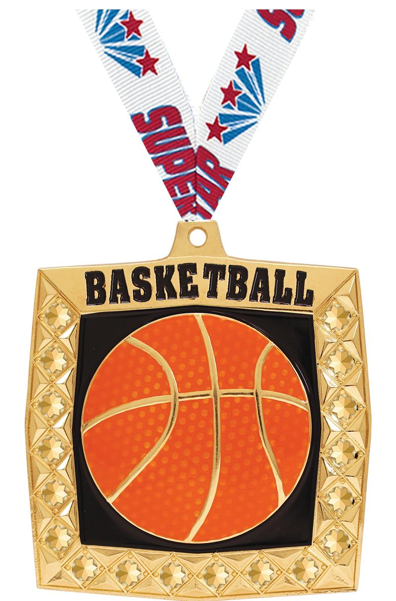 "2 1/4"" Basketball Bling 4.0 Medals"